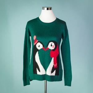 Hollister Small Green Not Ugly Penguin Sweater